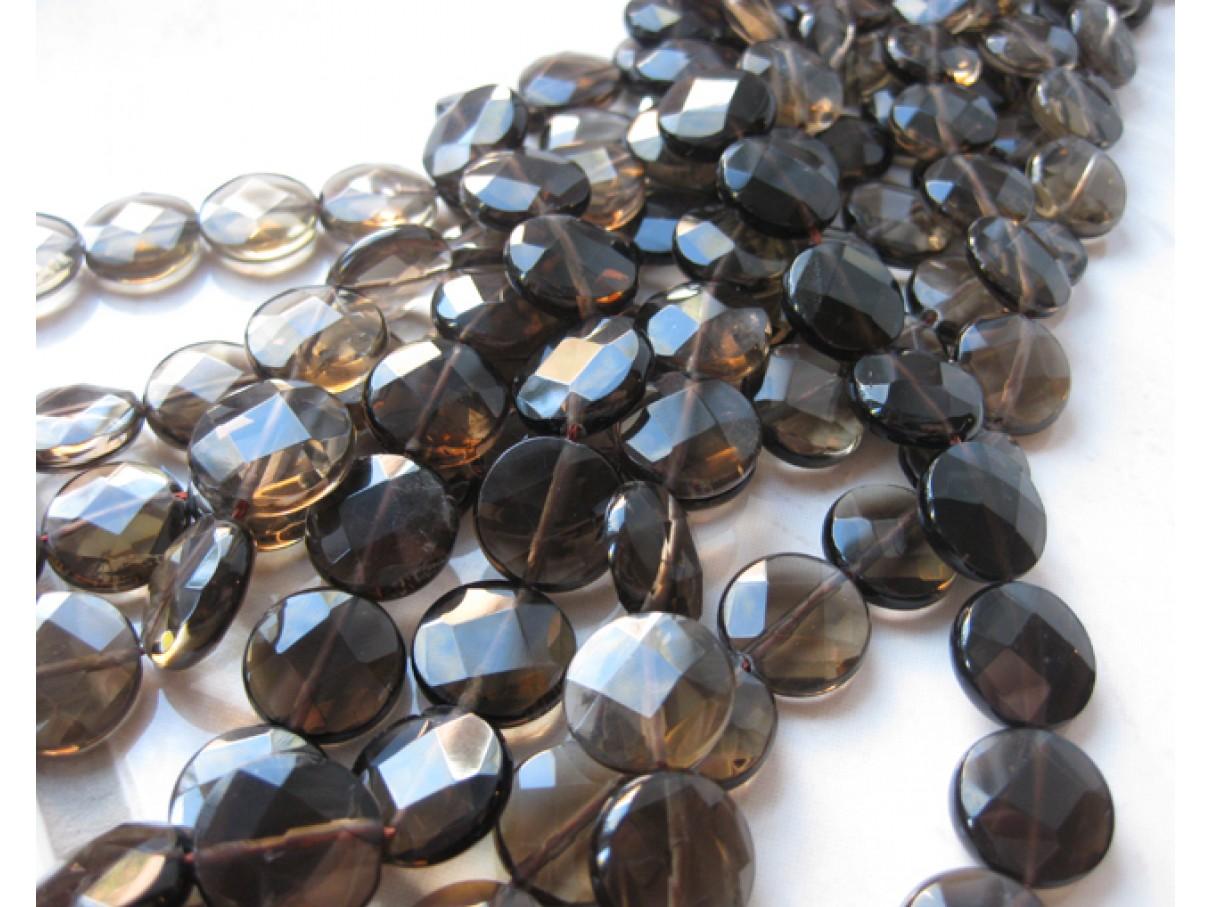 perler af røgkvarts mønter