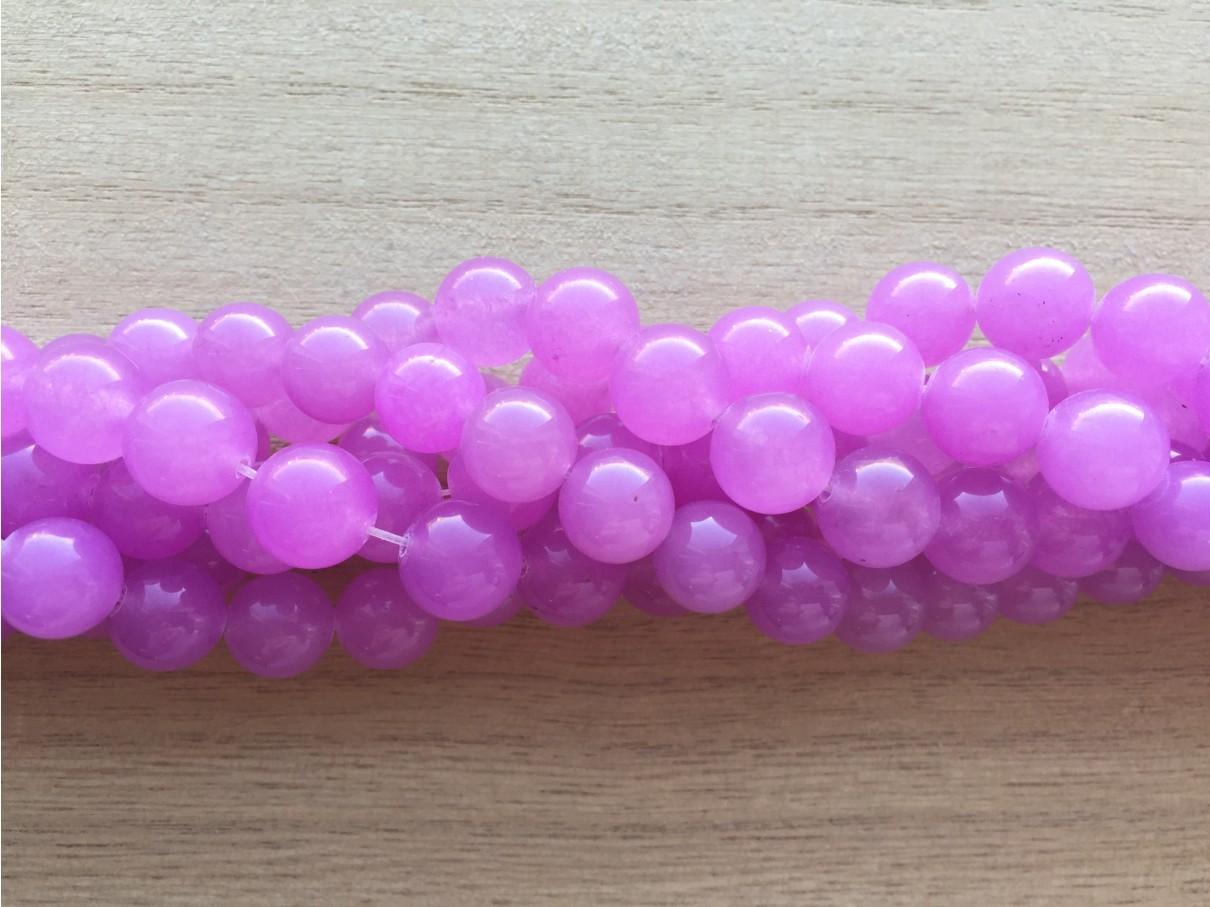 Farvet jade, lys violet rund 10mm