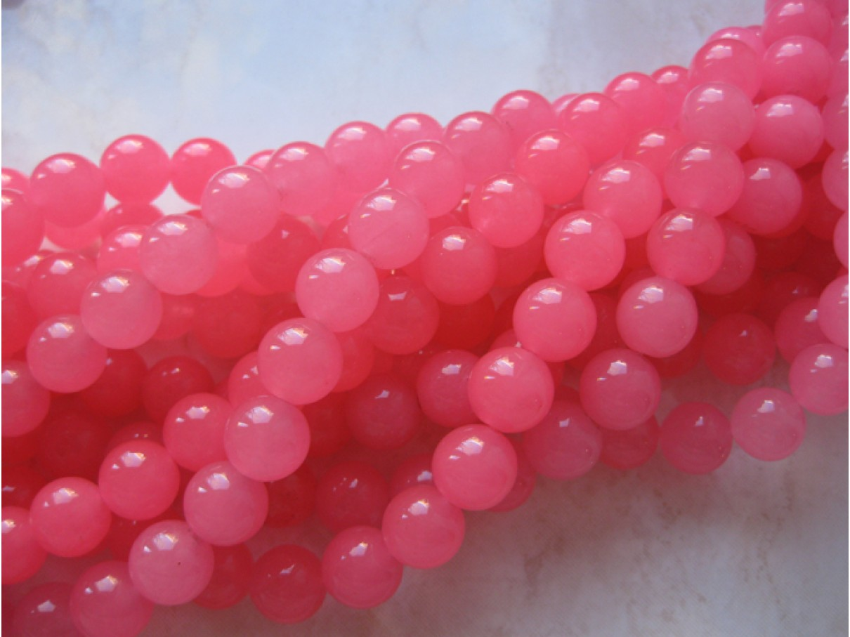 10mm farvet jade, hot pink