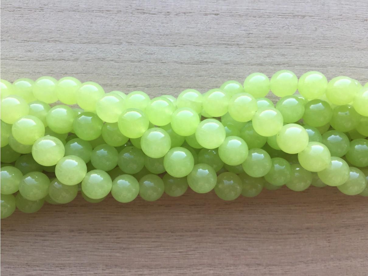 10mm perler af farvet lime grøn jade