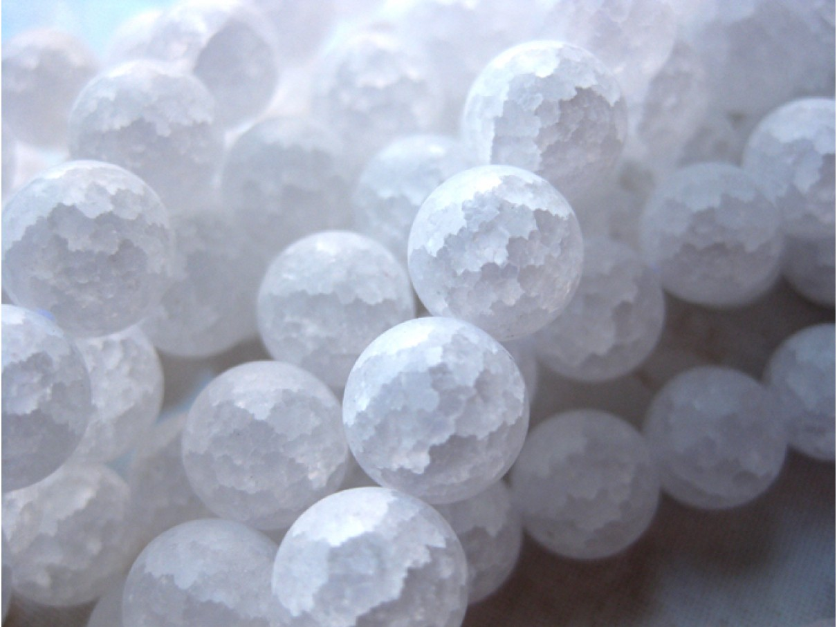 Krakkeleret krystal, mat rund 12mm