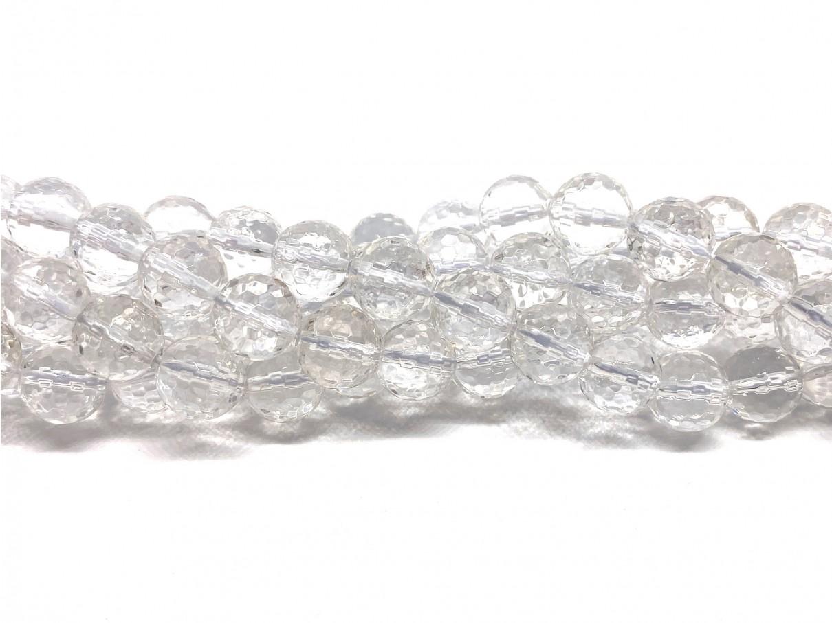 Klar krystal, facetslebet rund 10mm (128 facetter)