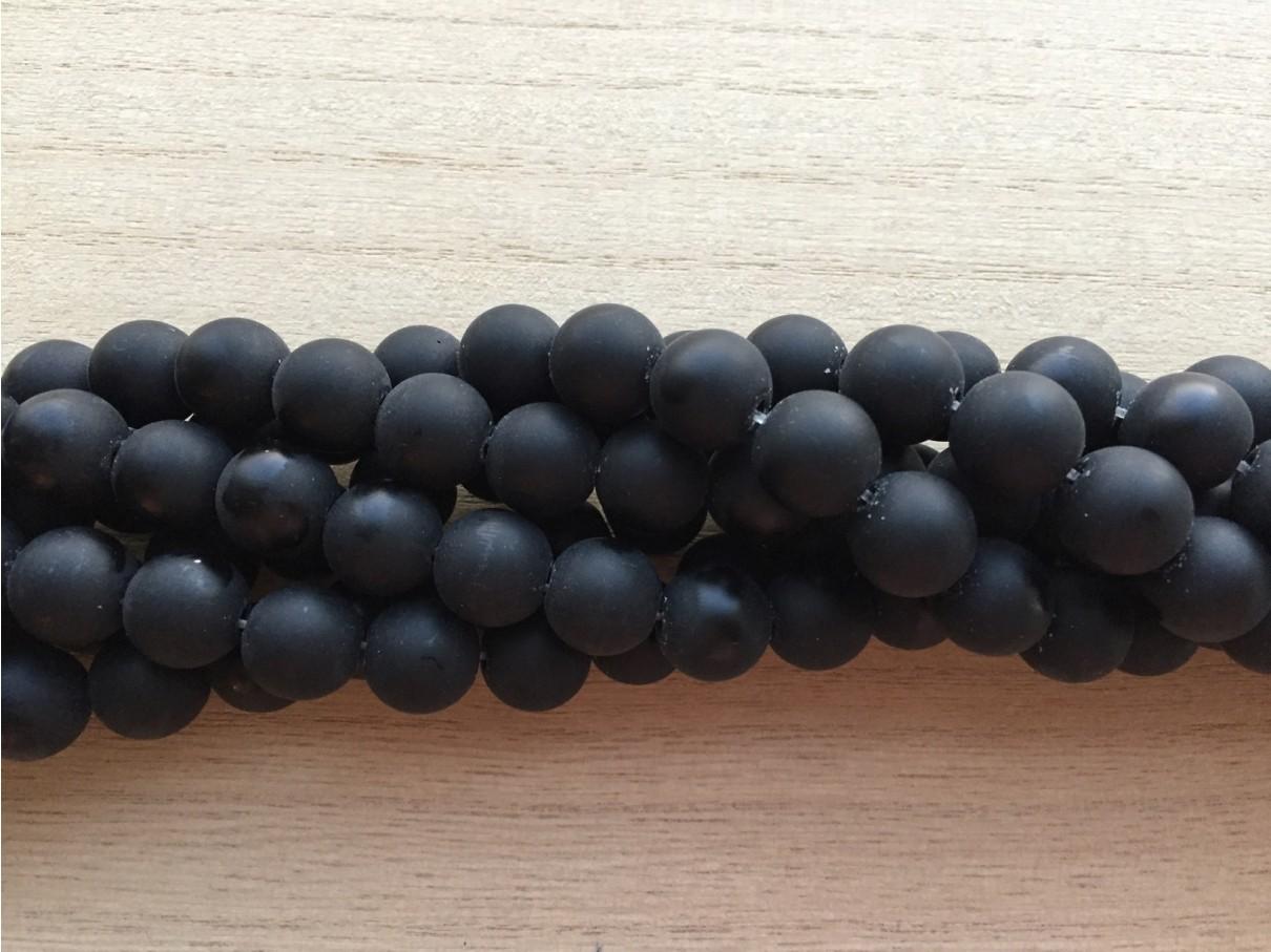12mm mat sort agat perler