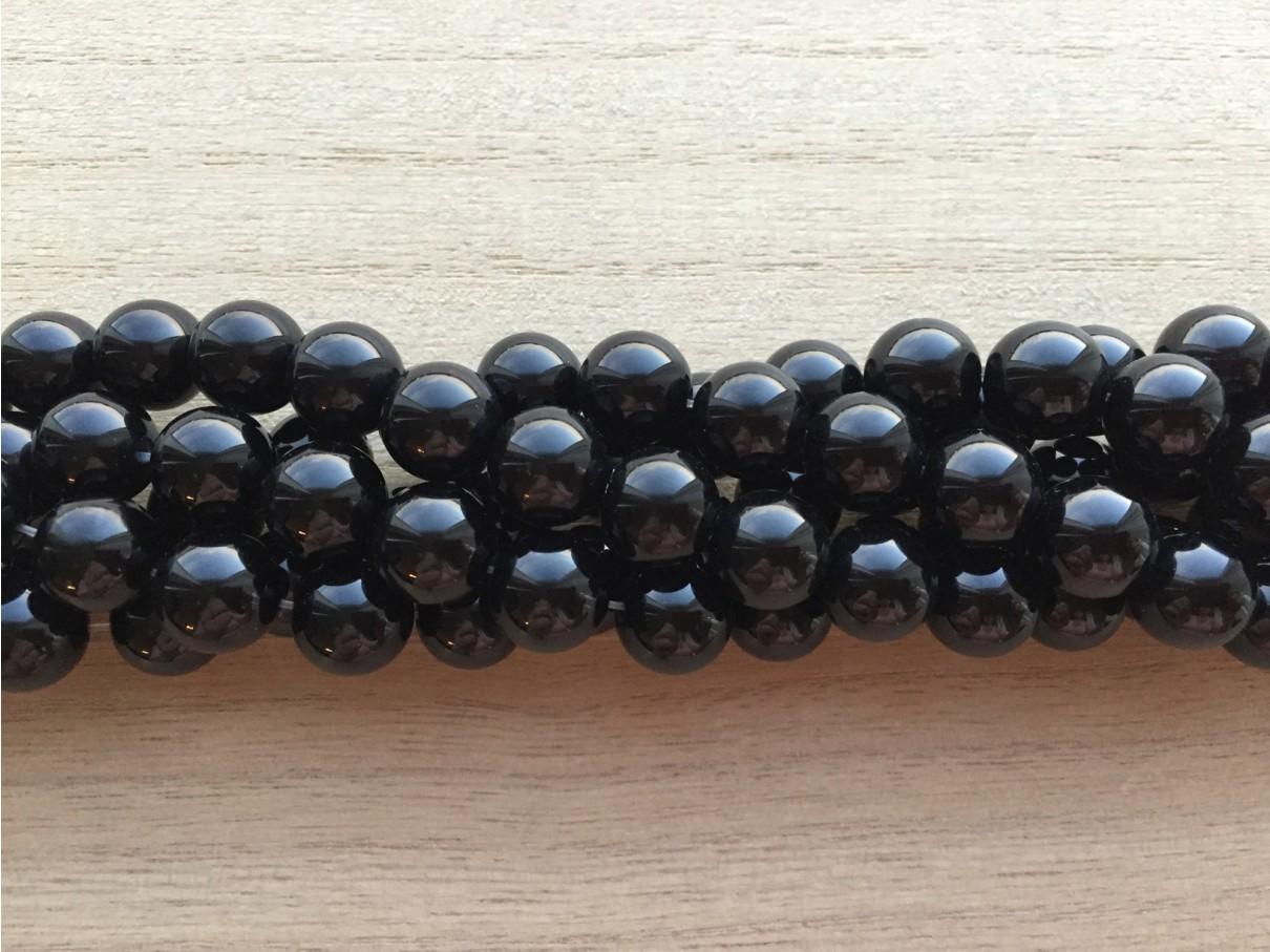 Sort agat, rund 10mm, 11 perler