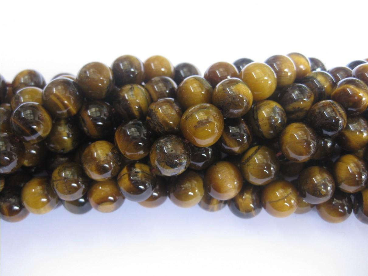 10mm rund tigerøje perler