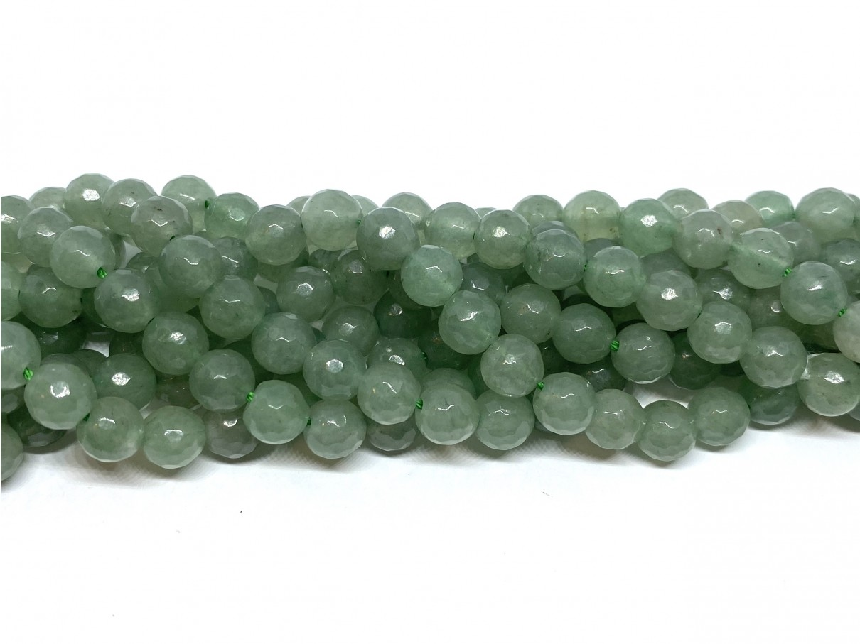 Grøn aventurin, facetslebet rund 6mm (64 facetter)