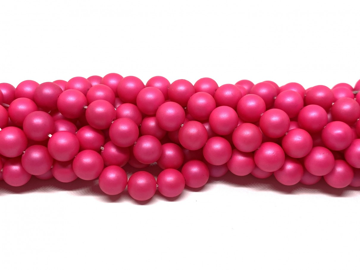 Frosted shell pearl, neon pink 8mm
