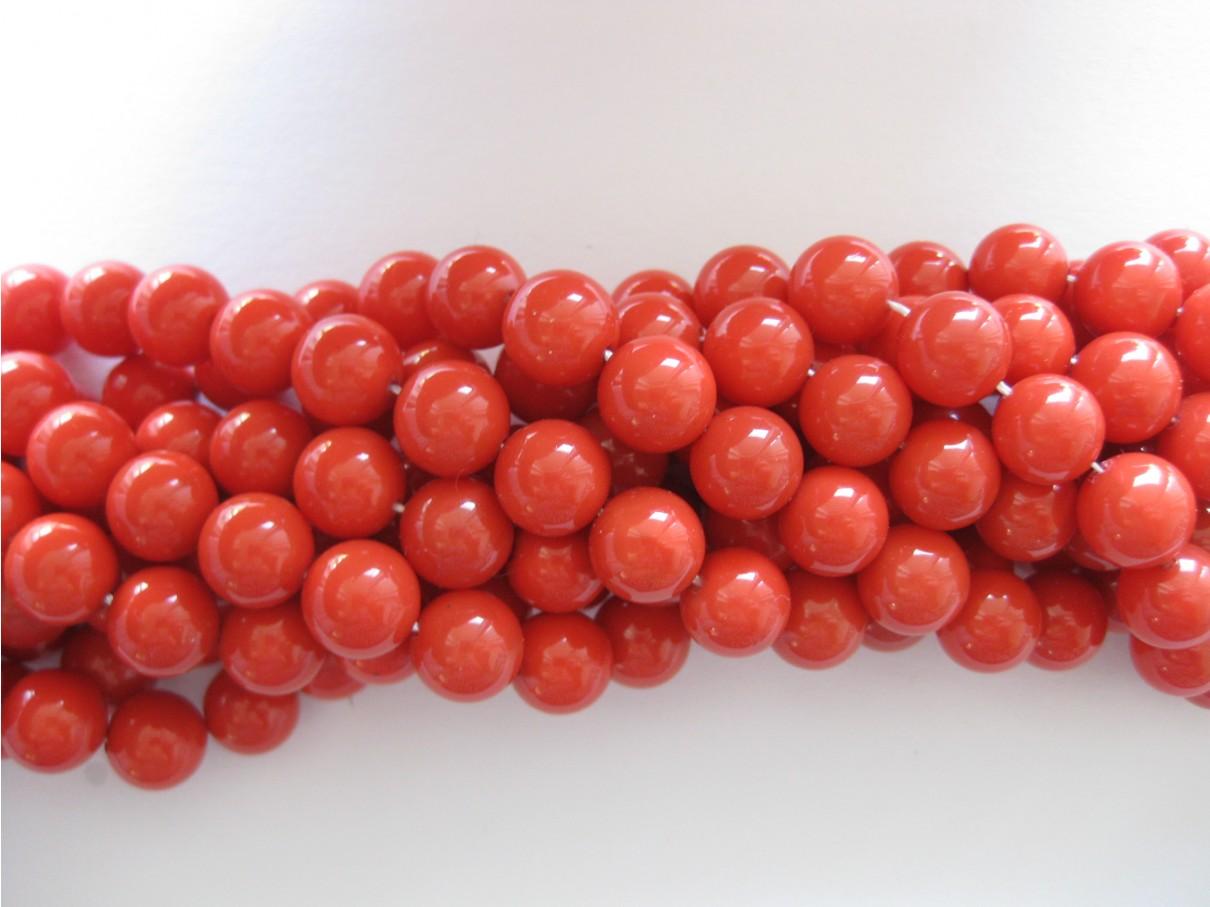 Shell pearl, tomat rød 10mm