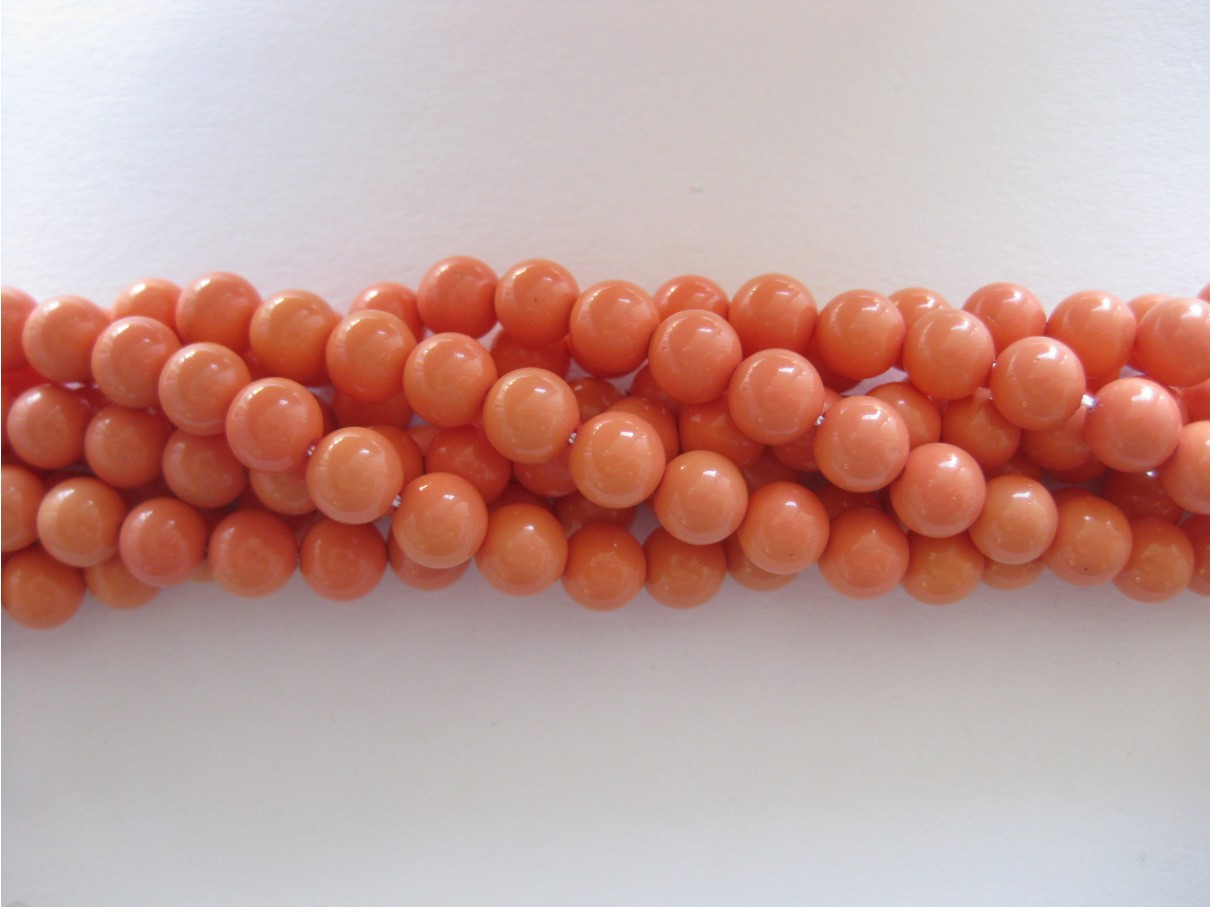 Shell pearl, koral rød 6mm