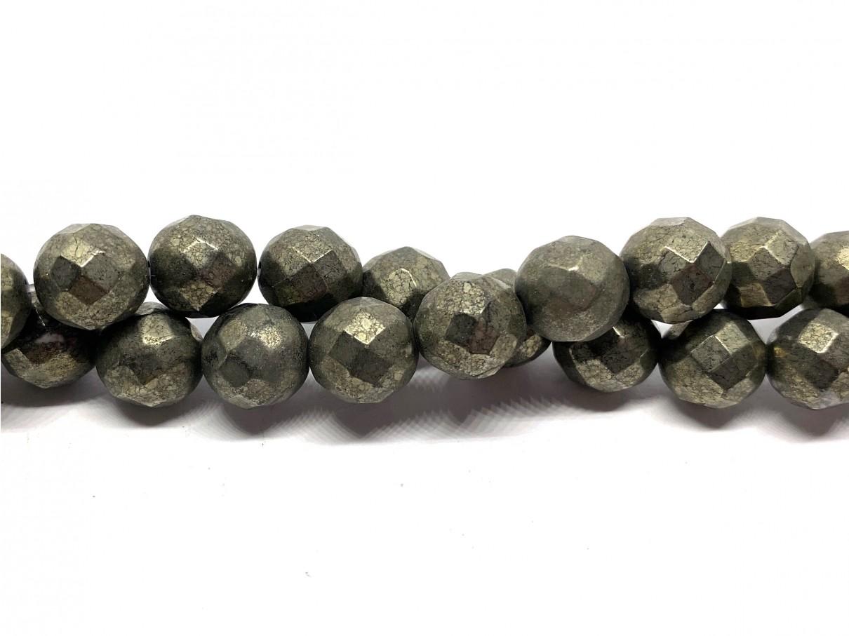 Pyrit, facetslebet rund 10mm (64 facetter)