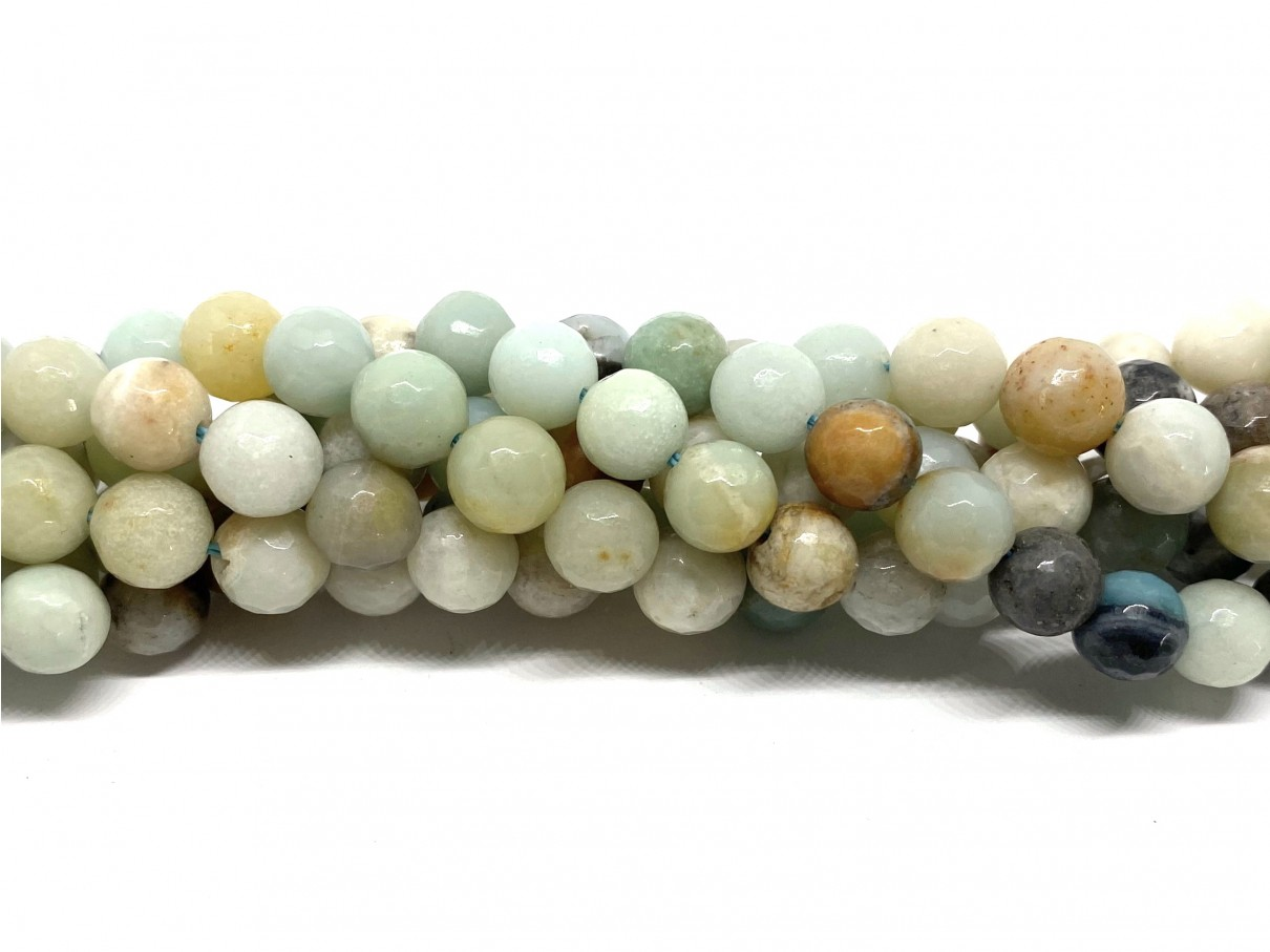 Multifarvet amazonit, facetslebet rund 8mm, 10 perler
