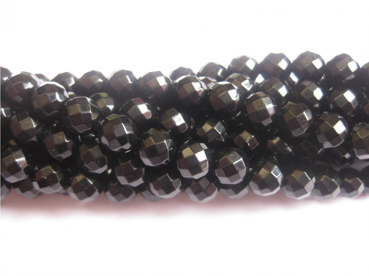 6mm facetslebet sort onyx