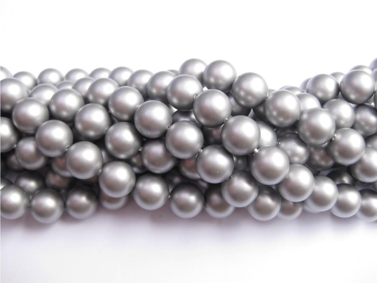 Frosted shell pearl, sølv-grå 6mm