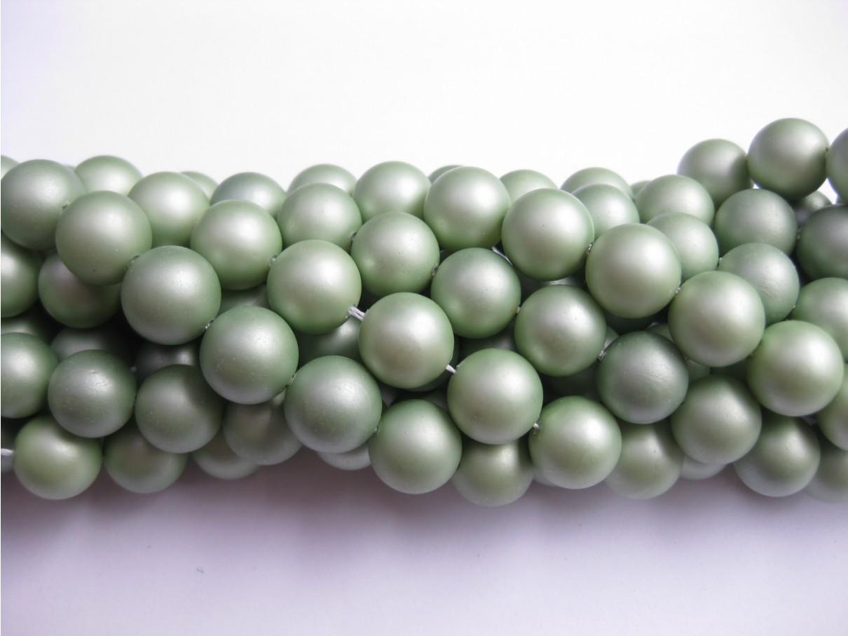 Frosted shell pearl, støvet lys grøn 10mm