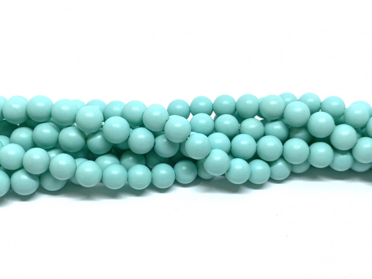 Frosted shell pearl, mint 6mm, hel streng
