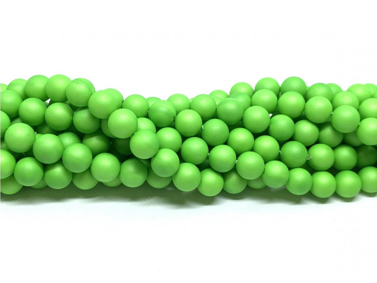Frosted shell pearl, neon grøn 6mm, hel streng