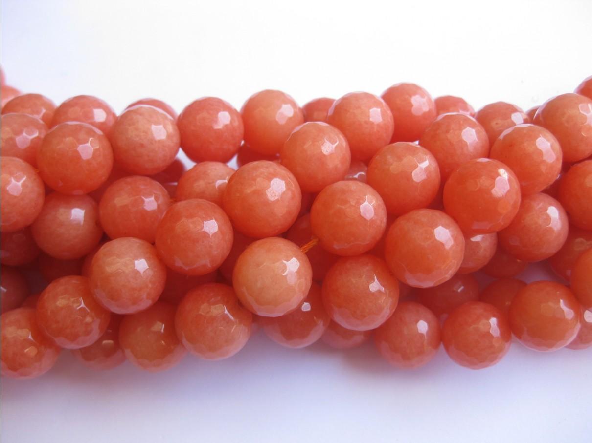 Orange jade, facetslebet rund 14mm-30