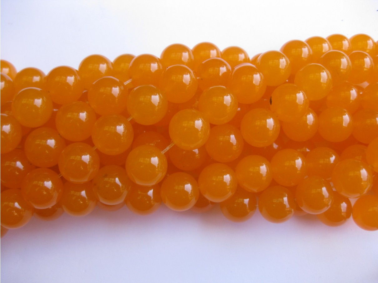 Orange jade, rund 14mm