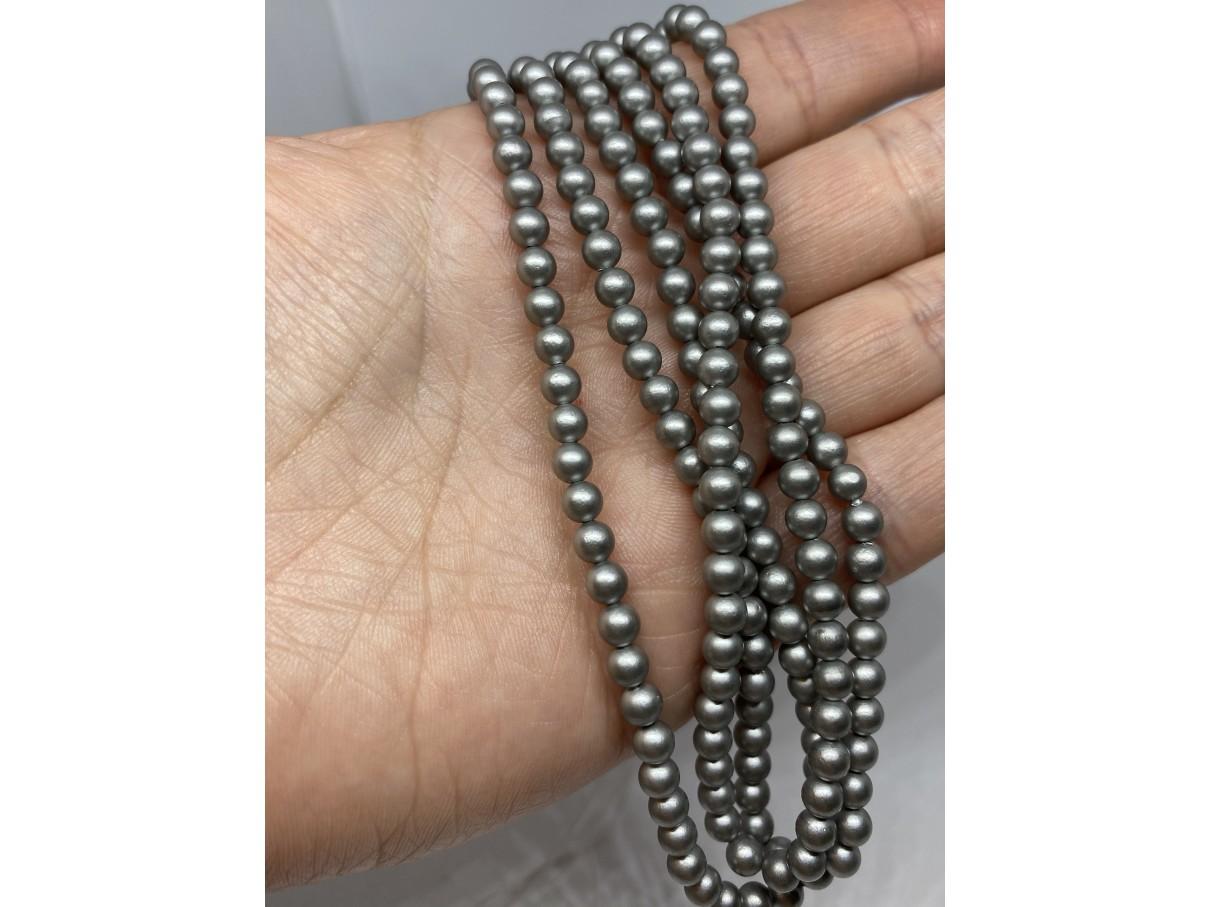 sølv shell perler 4mm