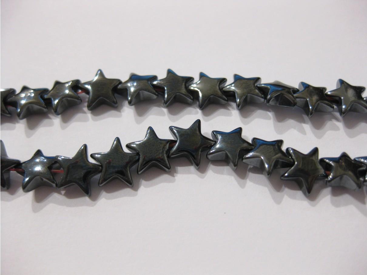 Hæmatit stjerner, 8mm puffy, hel streng