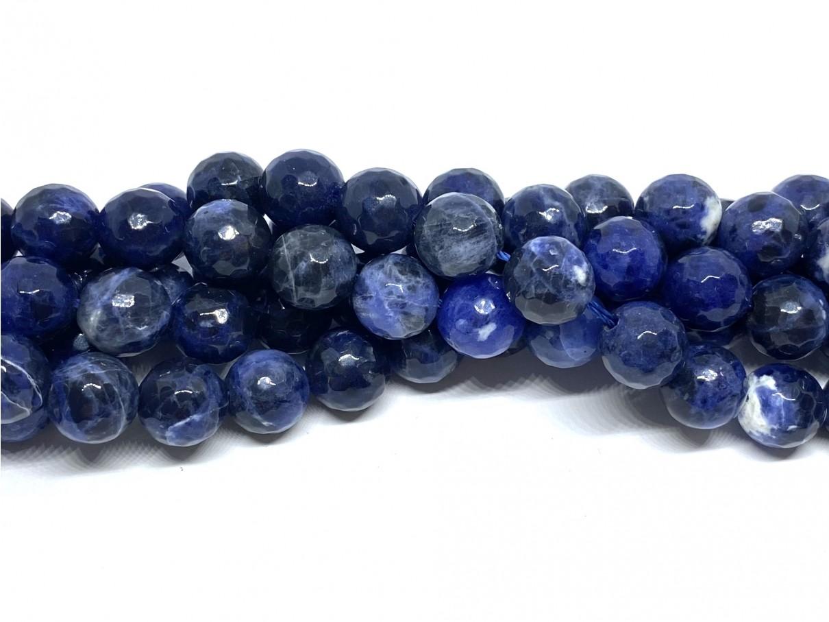 10mm perler af facetslebet sodalit
