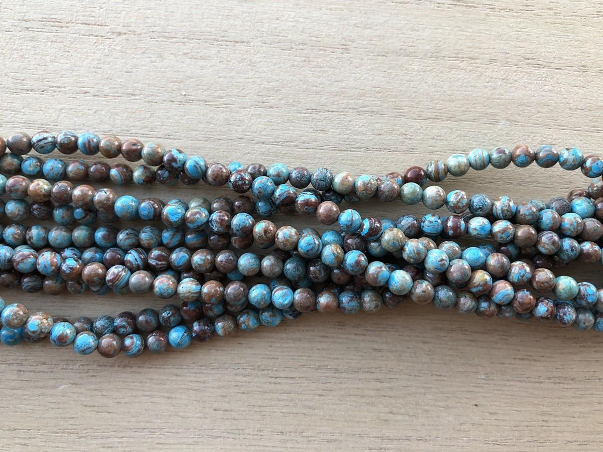 Blå efterårs jaspis, rund 4mm, hel streng