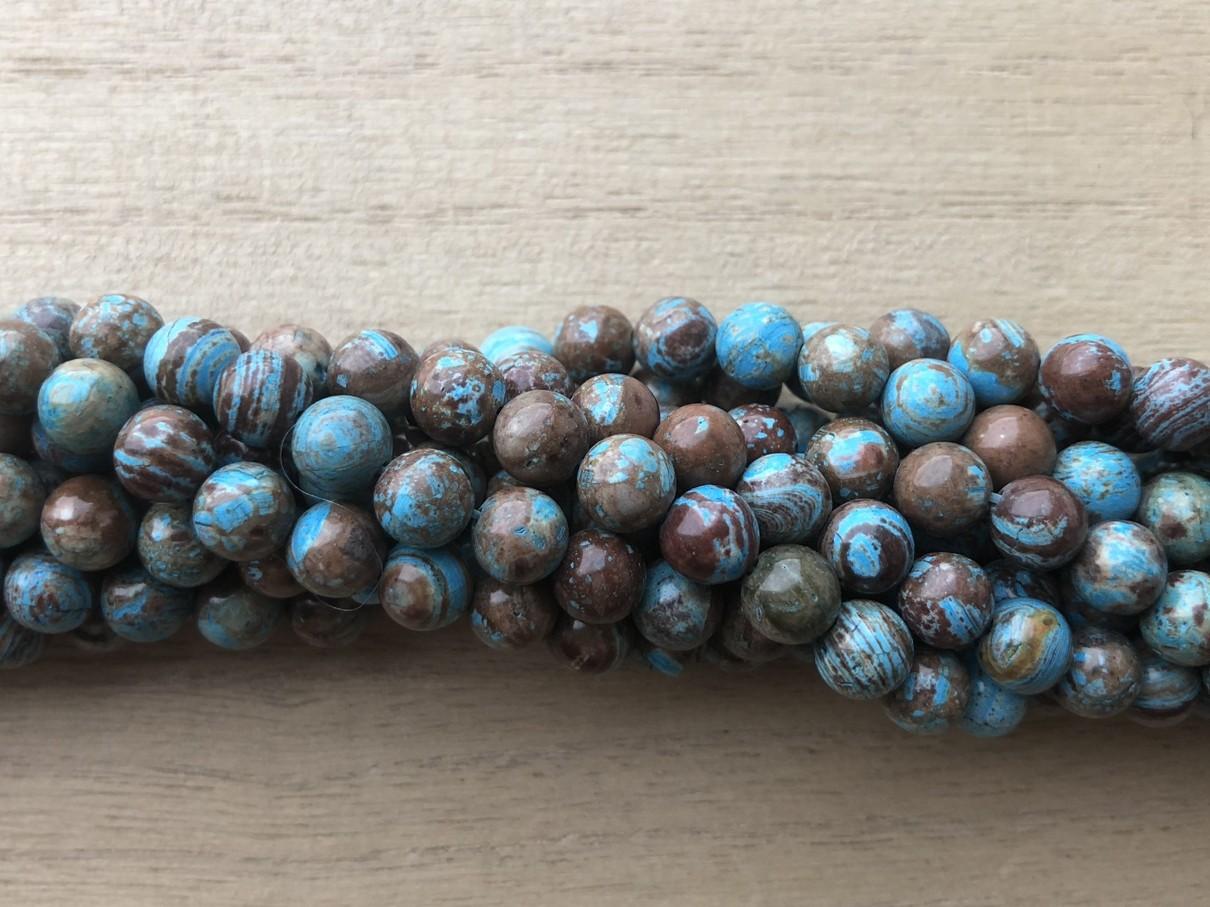 Blå efterårs jaspis, rund 6mm