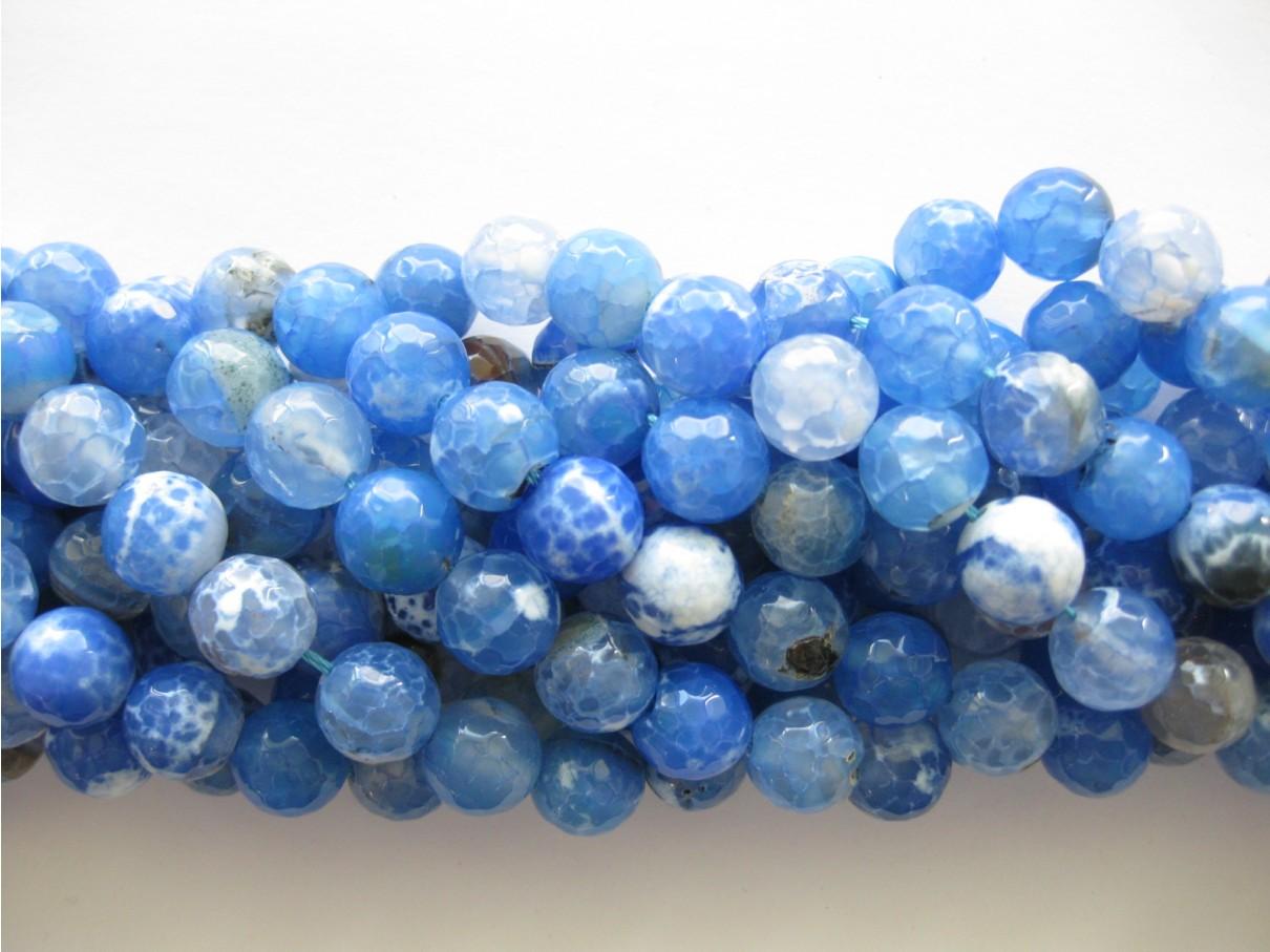Sky blå ild agat, facetslebet rund 12mm