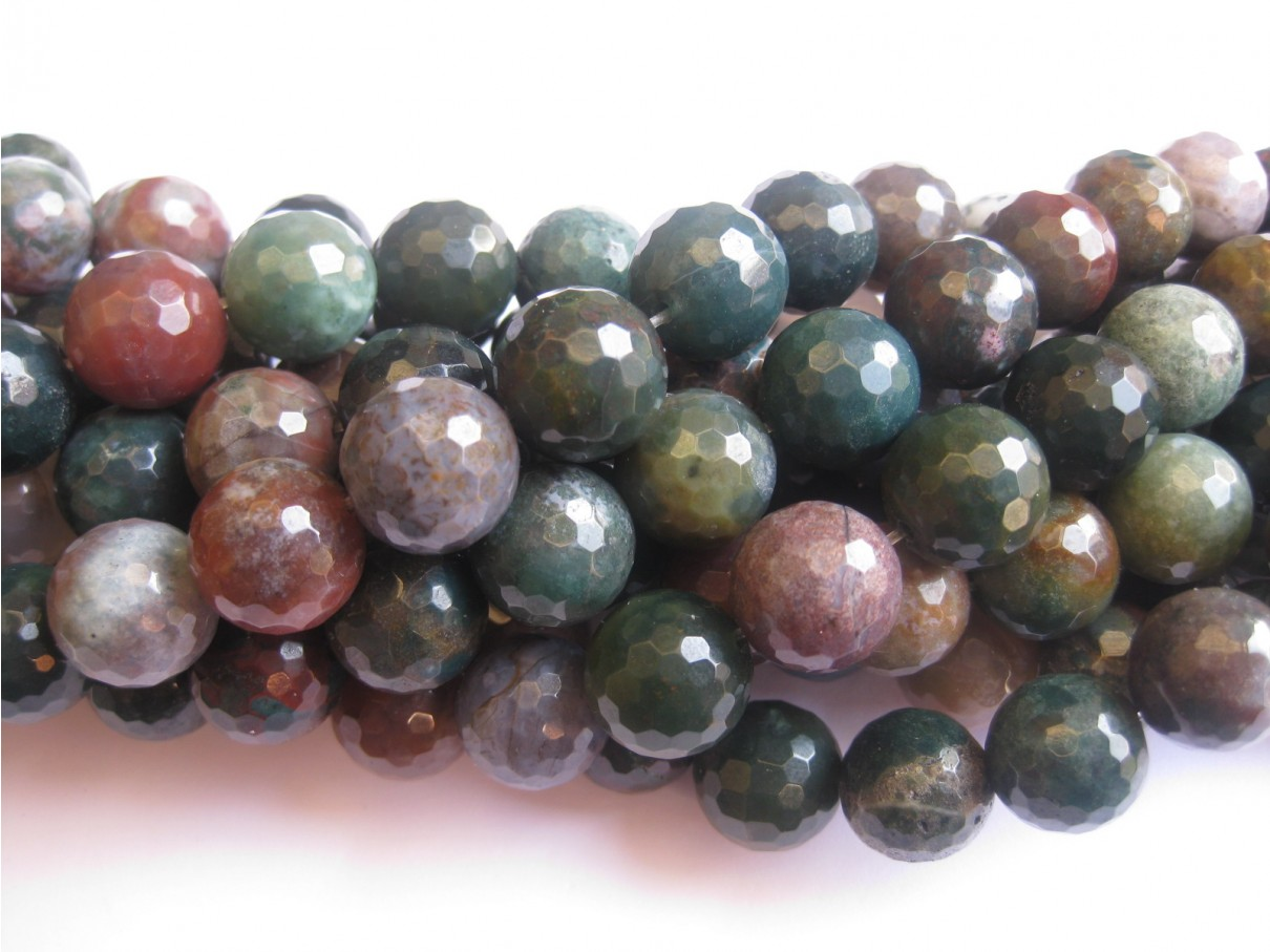 14mm facetslebne perler af fansy jaspis