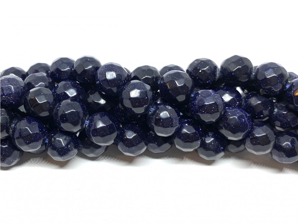 Blå goldstone, facetslebet rund 10mm