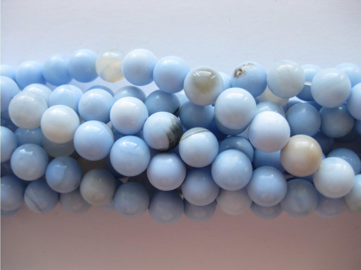 Lys blå agat, rund 8mm
