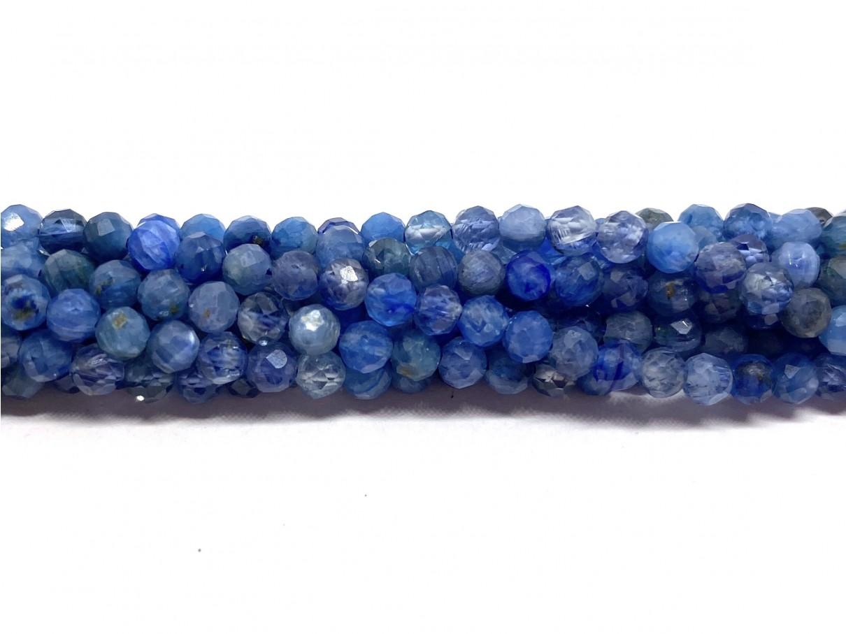 Naturlig blå kyanit, facetslebet rund 3mm, hel streng
