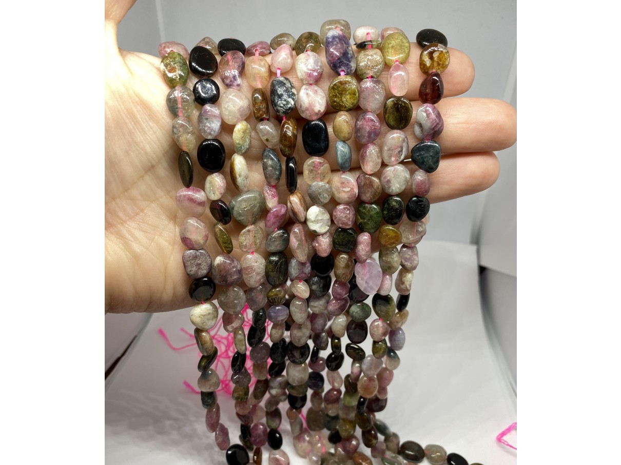 Multifarvet turmalin store nuggets perler