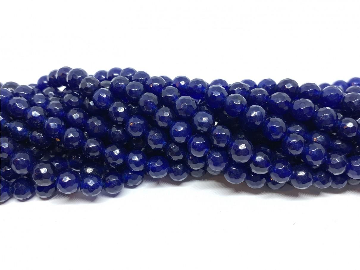 Lapis blå jade, facetslebet rund 6mm