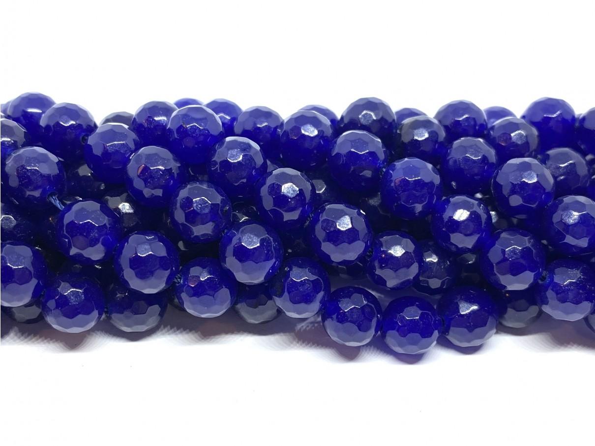 Lapis blå jade, facetslebet rund 8mm