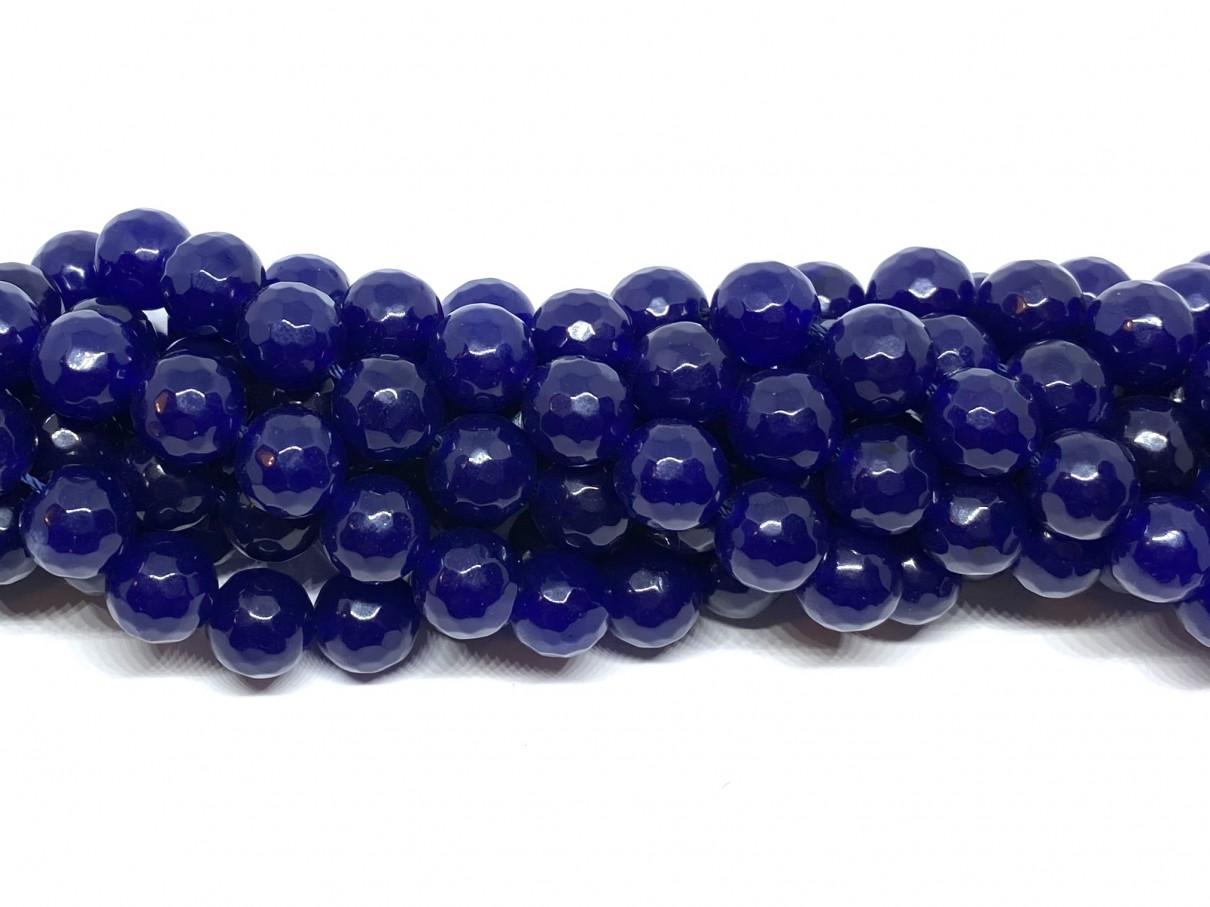 Lapis blå jade, facetslebet rund 10mm