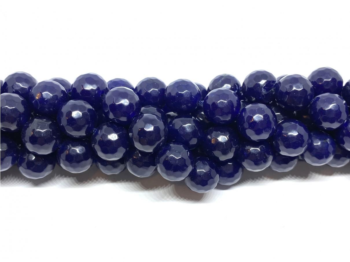 Lapis blå jade, facetslebet rund 12mm