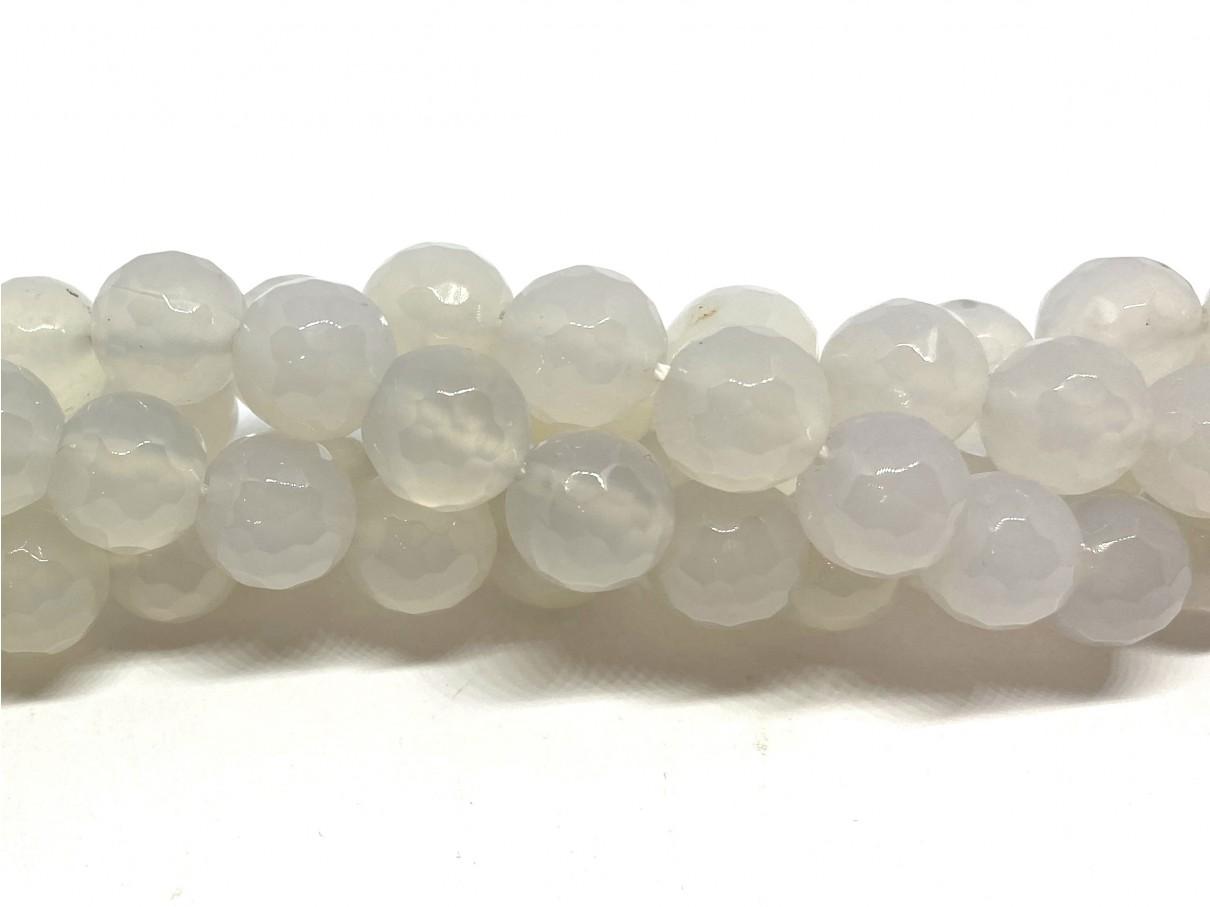 Hvid agat, facetslebet rund 10mm
