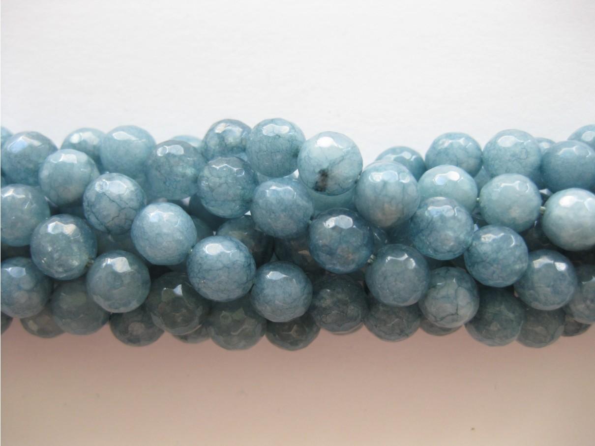 Petrolium blå jade, facetslebet rund 8mm