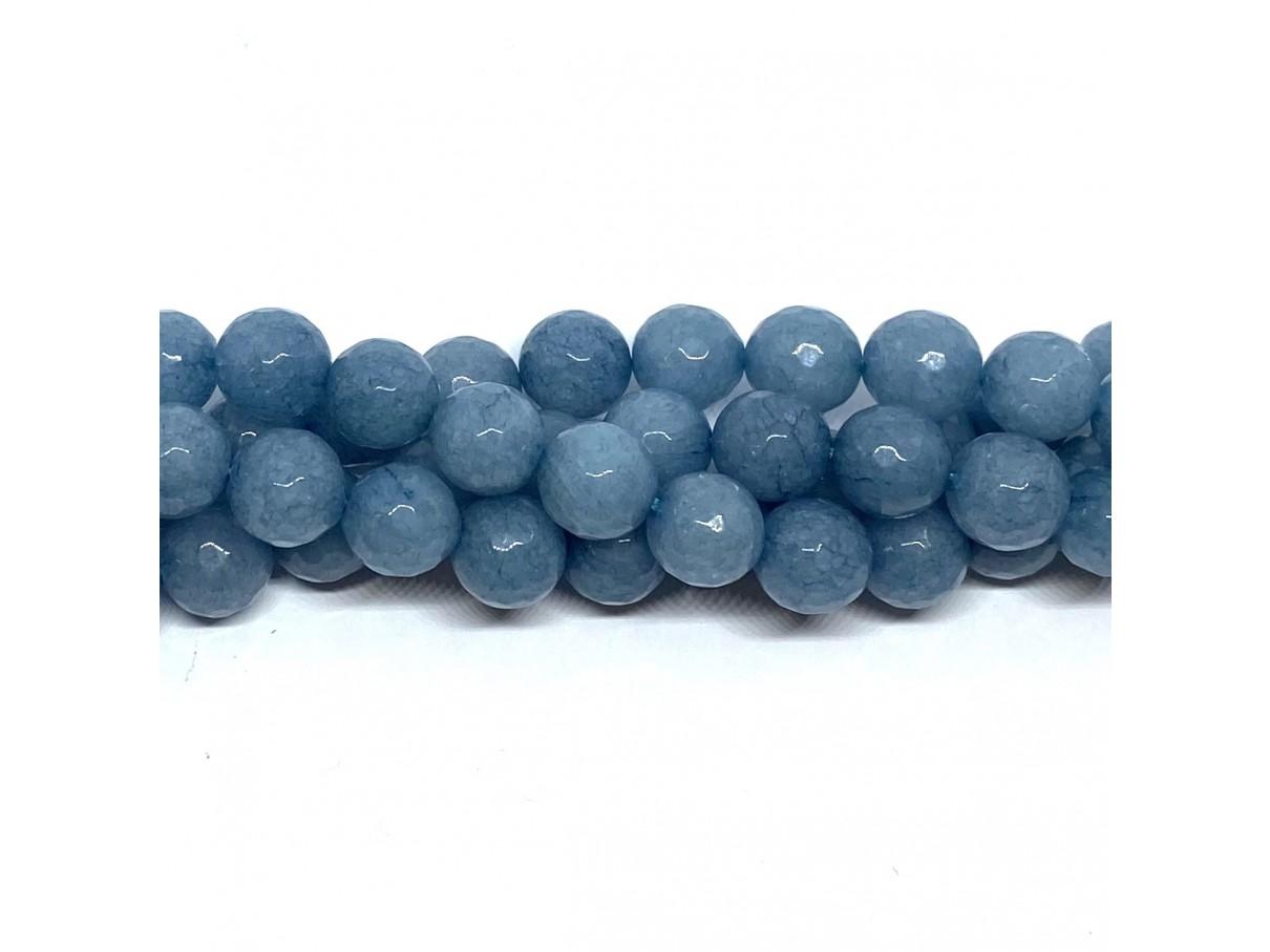 Petrolium blå jade, facetslebet rund 10mm