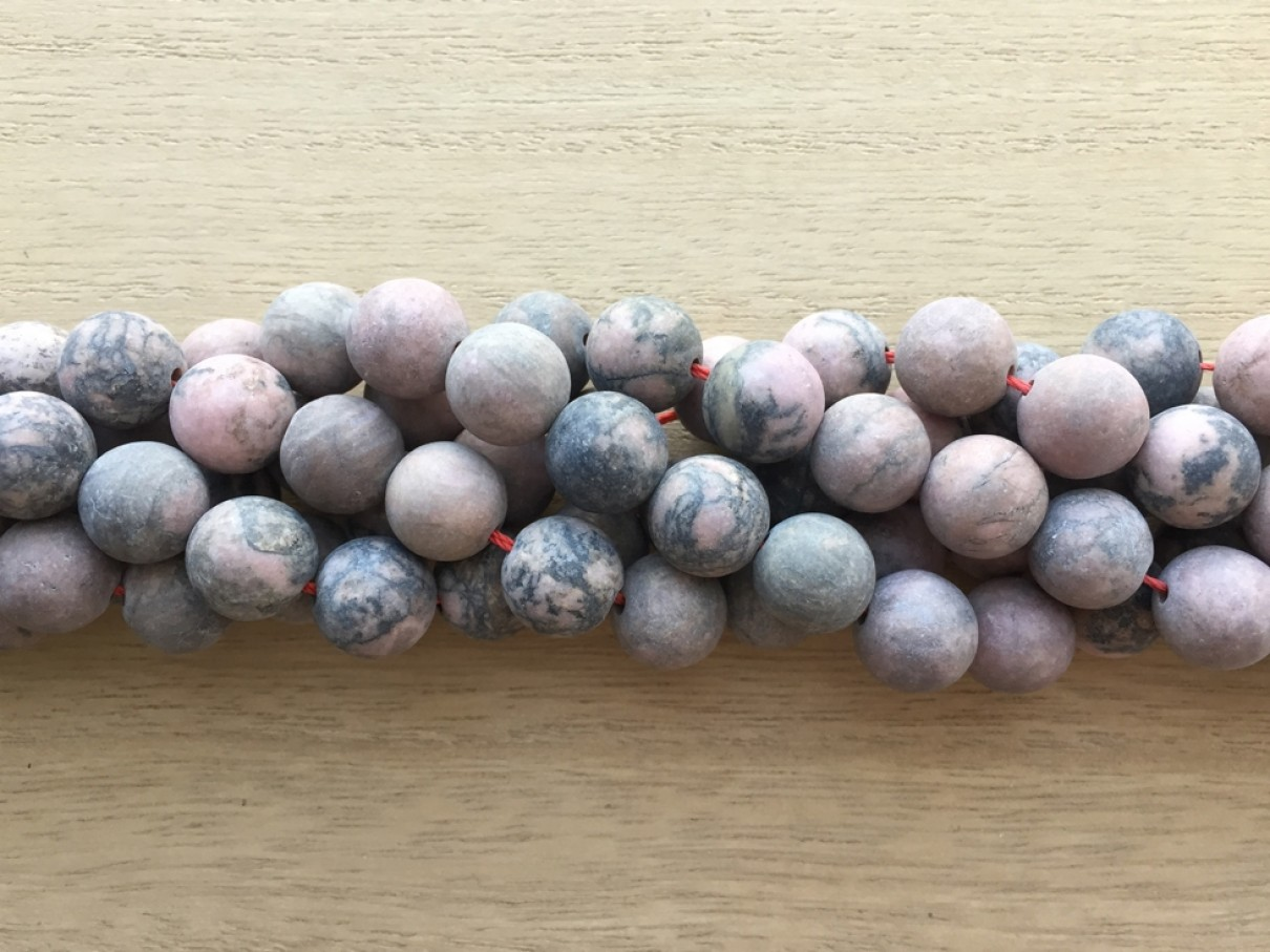 12mm frosted rhodonite