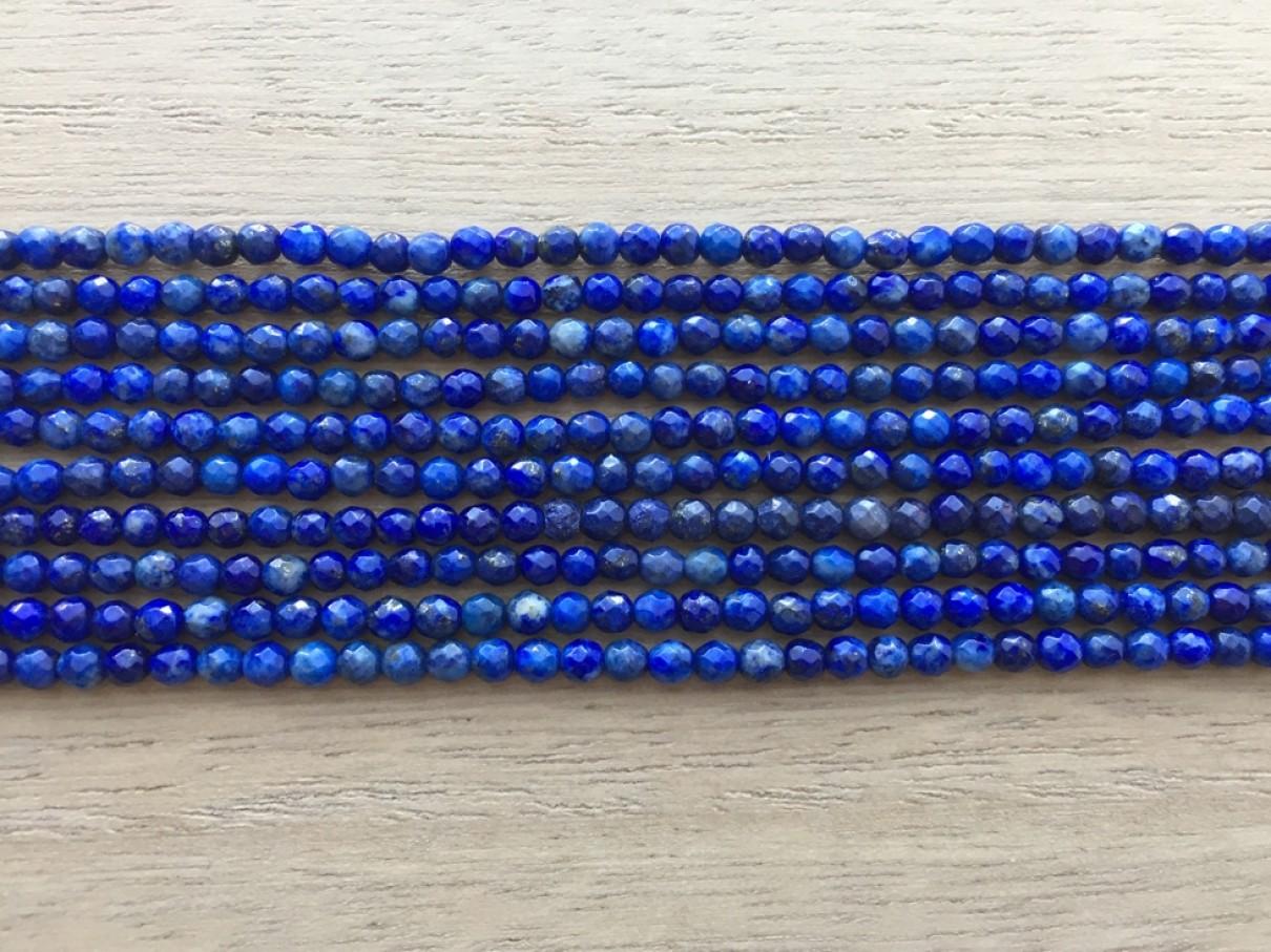 3mm facetslebne blå perler