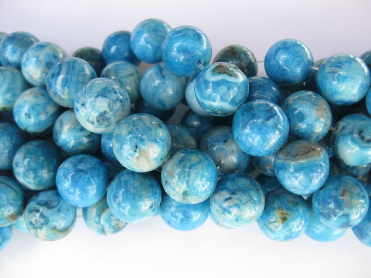 Larimar blå crazy lace agat, rund 12mm