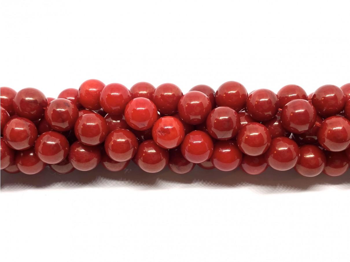 Rød koral, rund 8mm