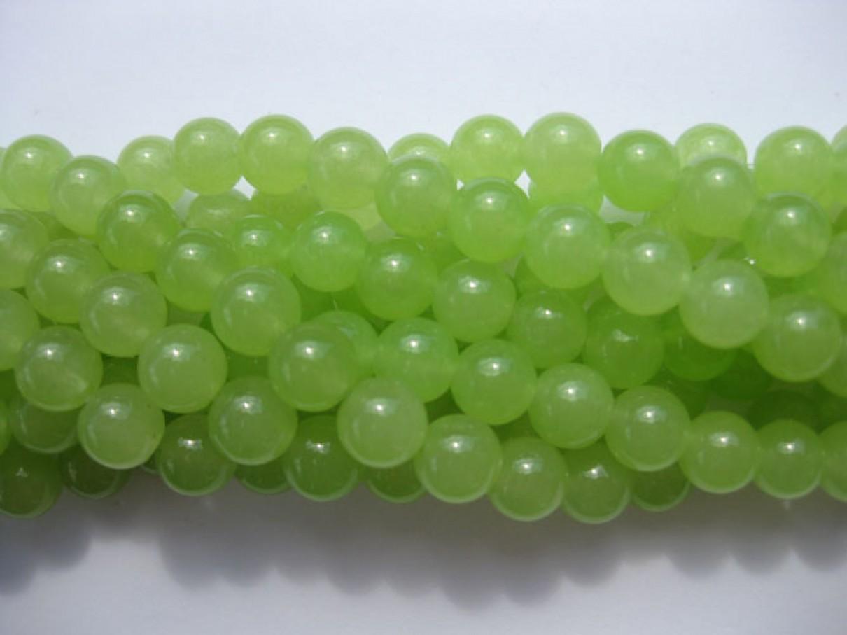 Farvet jade, lys lime grøn rund 8mm