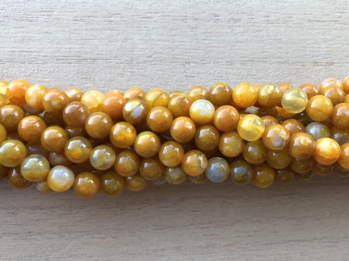 6mm gule agat perler