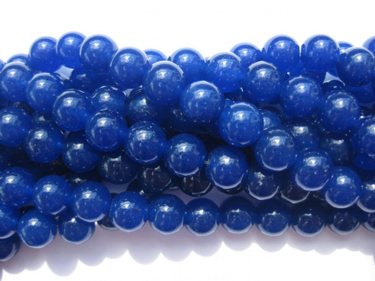 Farvet jade, lapis blå rund 10mm