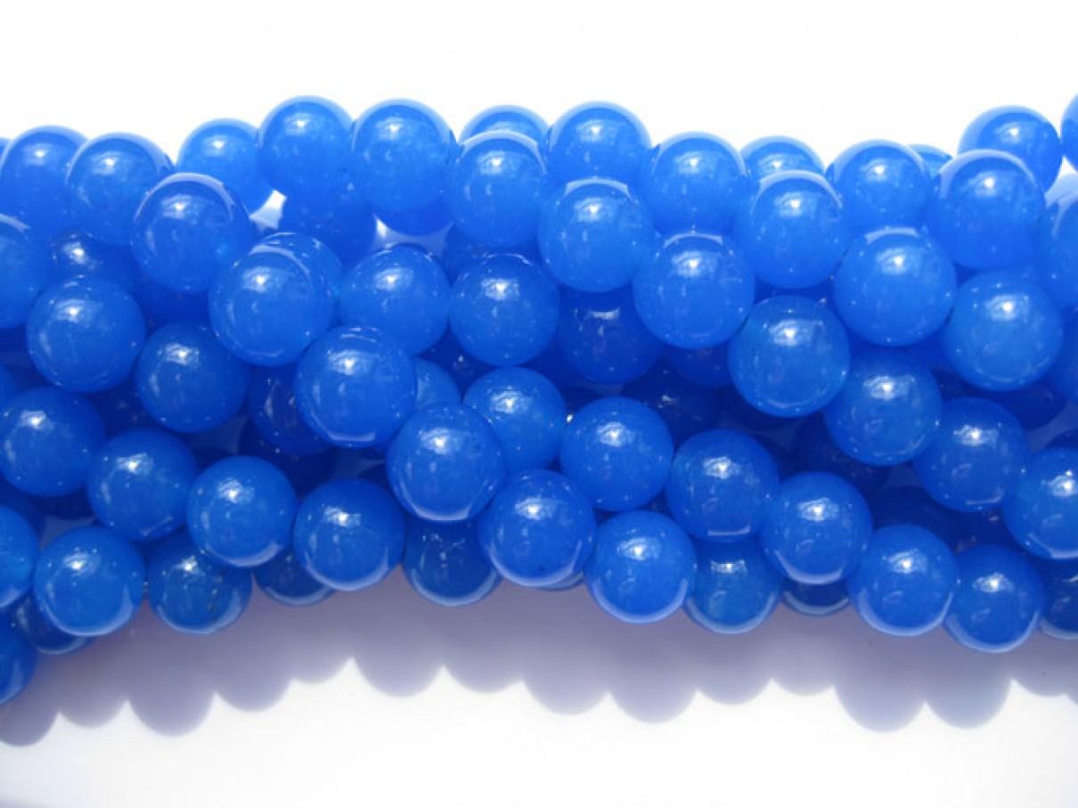 Farvet jade, blå rund 10mm