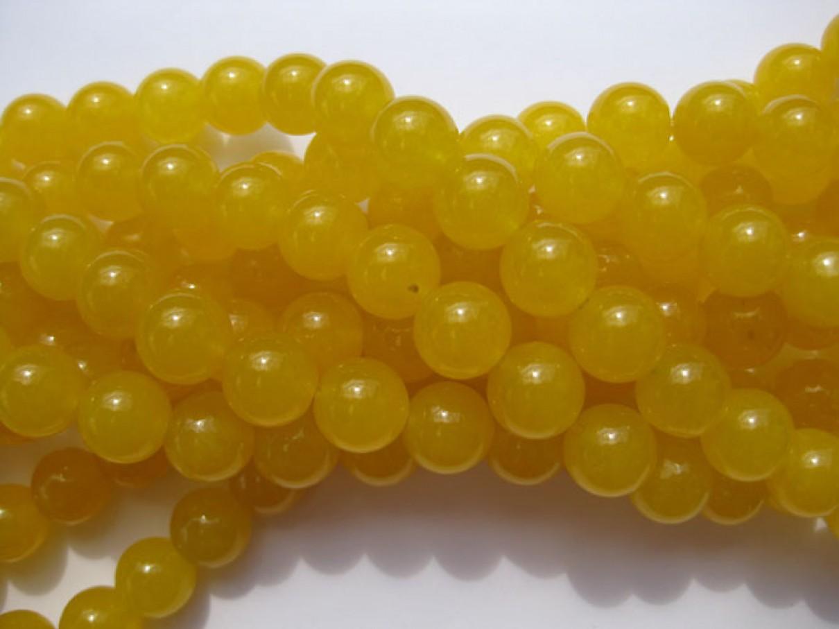 Farvet jade, gul rund 10mm, 10 perler