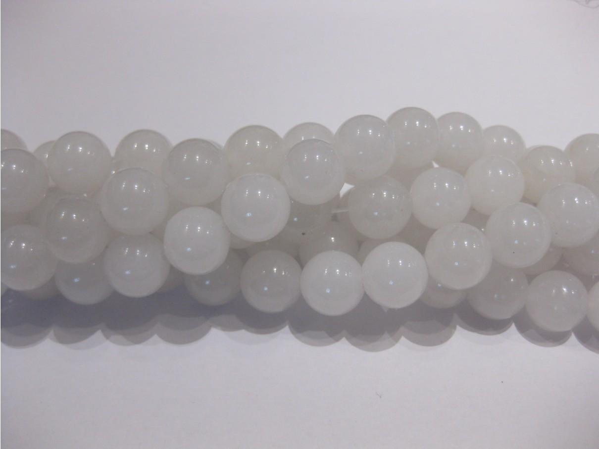Farvet jade, hvid rund 12mm